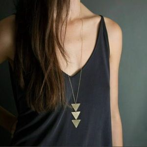 GOLD Long Geometric Triangle Pendant Necklace
